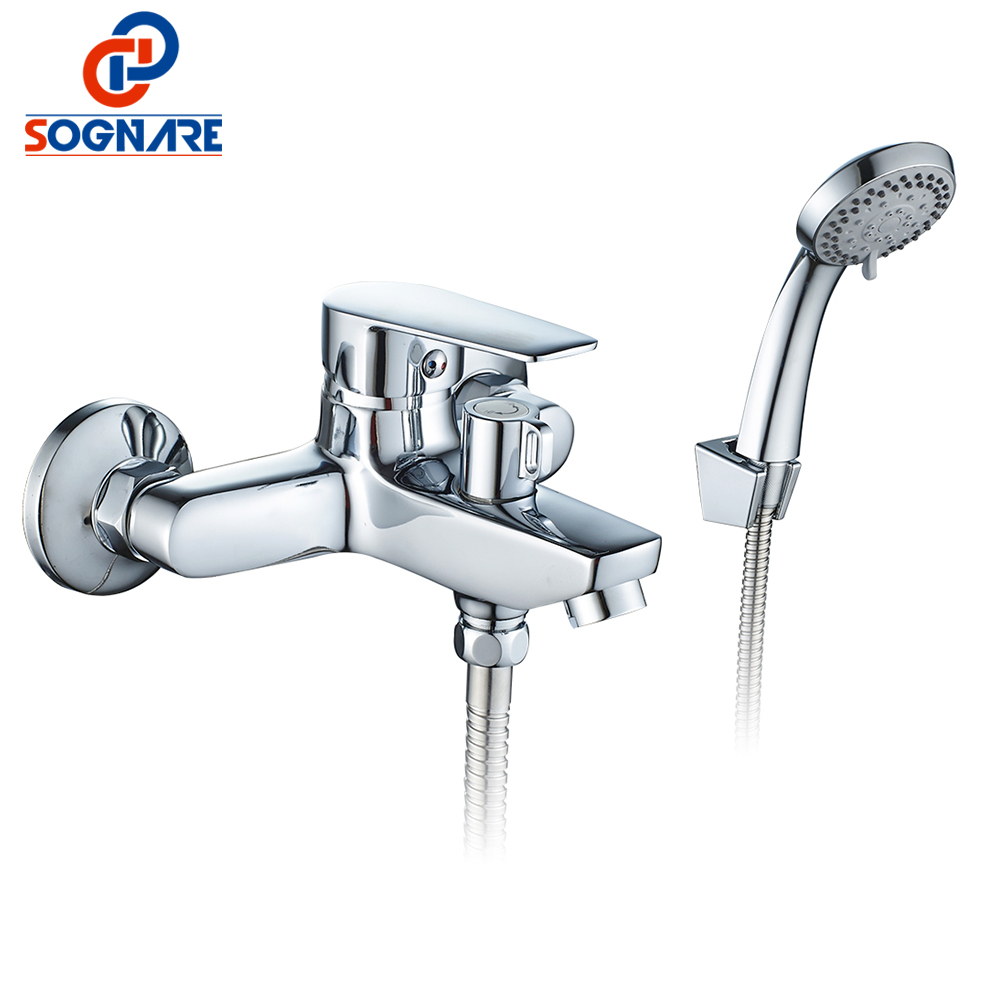 SOGNARE New Wall Mounted Bathroom Bath Shower Faucet with Handheld Shower Head Chrome Finish Shower Faucet Set Mixer Tap D5205 modern thermostatic shower mixer faucet wall mounted temperature control handheld tub shower faucet chrome finish