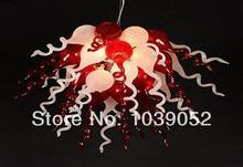 Red and White Modern Luxury Blown Murano Glass Chandelier