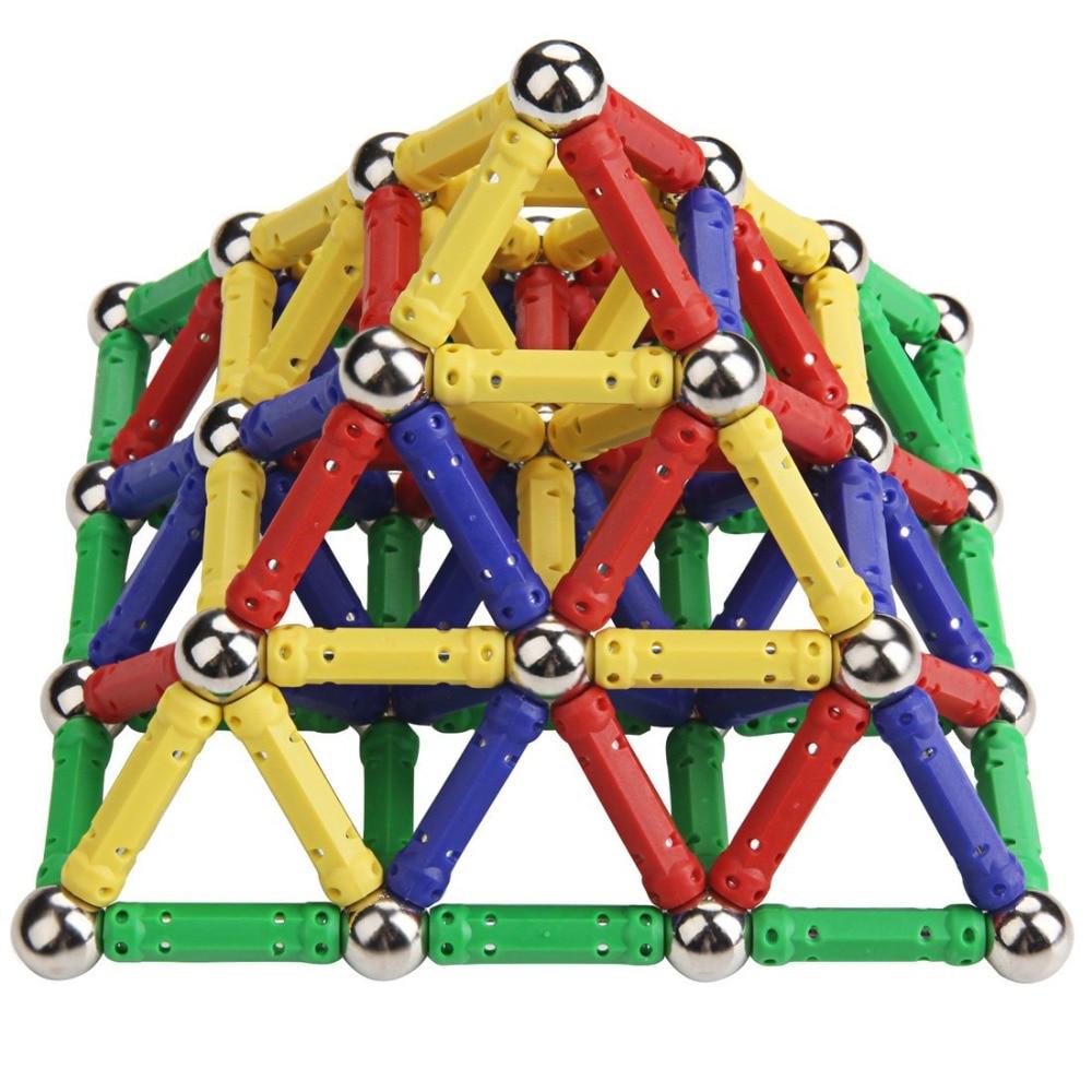 Magnetic Stick  & Metal Balls Building Blocks Construction Toys for Kids 157 Pcs/set DIY Designer Educational Toys ksb metal construction toys metal model assembly puzzle building block set construction vehicle