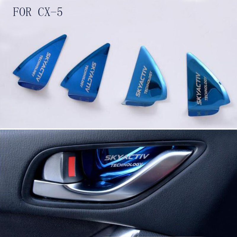 Car Styling fit For MAZDA CX-5 CX5 2015 2016 2017 2018 Stainless Steel Auto Inner Door Bowl Sticker interior moulding Covers