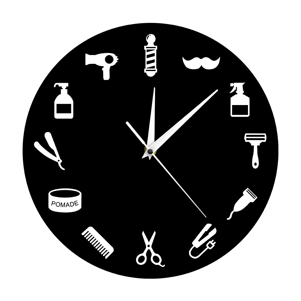Hairstylist Business Wall Sign Barber Tools Designed Wall Clock Salon Artist Home Decor Barber Shop Pole Beauty Salon Wall Clock