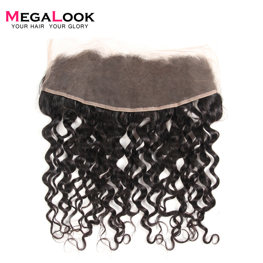Megalook Human-Hair Front-Closure Lace Natural-Color Peruvian 13X4 Water-Wave Remy 10-22-Inch