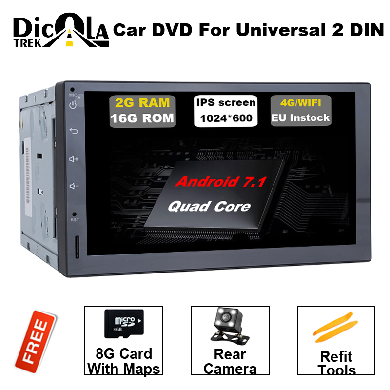 """10.1/"""" HD Android 7.11 4-Core 2 Din  WiFi 3G//4G Car GPS Stereo Radio Player"""
