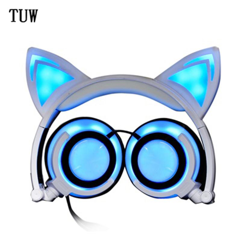 LX-CCT107 wired sports earphone cartoon cat ears stereo music charging headphone for universal mobile phones