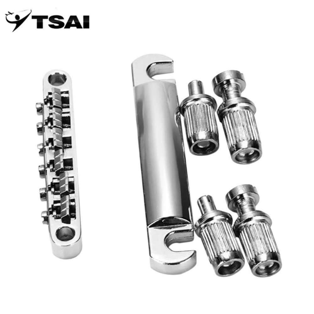 TSAI Electric Guitar Bridge 1 Set Tune-O-Matic Silver Guitar Bridge 6 Strings Tail Piece Chrome for LP Electric Guitarra players цена и фото