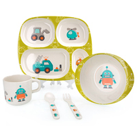 Children Tableware Set Cartoon Character Feed 5pcs Set Plate Bowl Cup Forks Bamboo Fiber Cutlery Safe