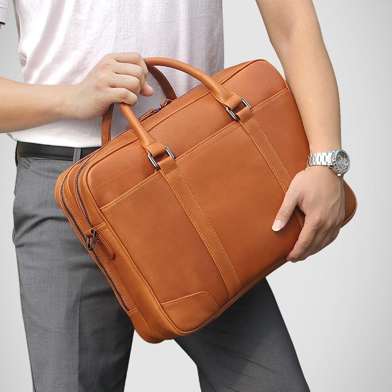 J M D Vintage Genuine Leather Men Briefcase Business Bag Large Leather Briefcases Men Laptop Case Shoulder bag 7348B 2 in Briefcases from Luggage Bags