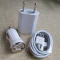 Traval Adaptador de Cargador de Pared + Mini Cargador de Coche + USB 30Pin Cuerdas de Alambre fecha Sync Cable de Carga para el iphone 4 3GS 4S