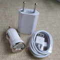 Traval Carregador de Parede Adaptador + Mini Car Charger + USB 30Pin data Sync Carregamento Cabos Cabo de Fio para o iphone 4 3GS 4S