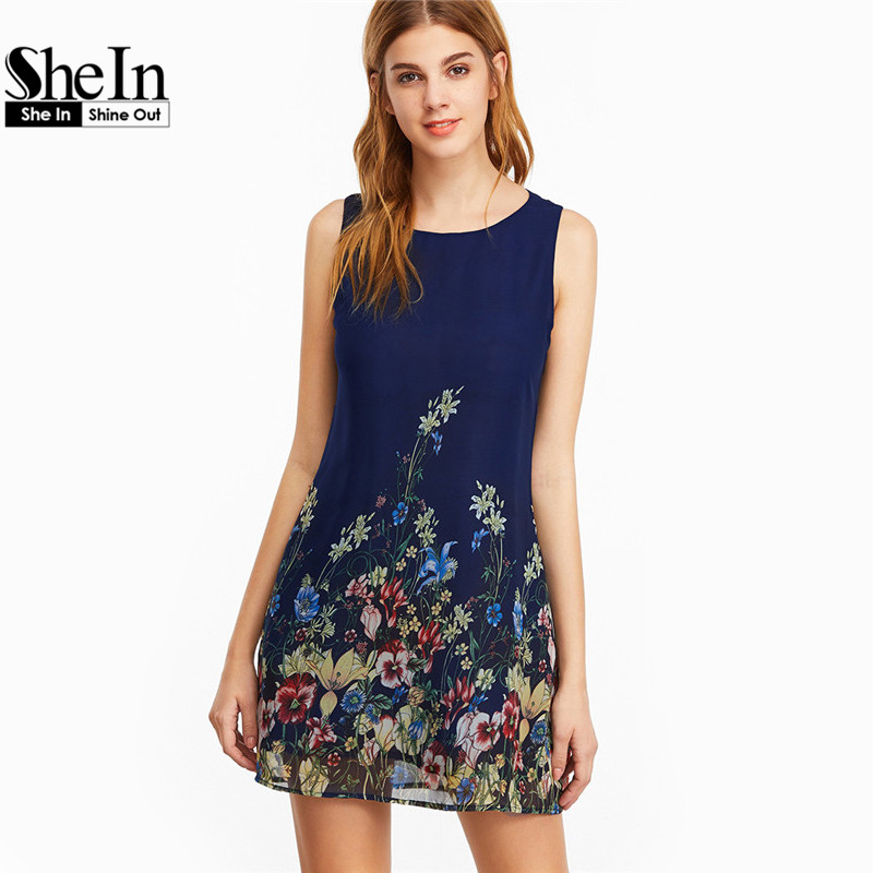 d795ba86a26d SheIn Womens Dresses New Arrival 2017 Navy Buttoned Keyhole Back Flower  Print Scoop Neck Sleeveless A ...