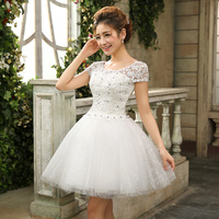 White Lace Up Short Wedding Dress Princess Lace Bandage Special Occasion Dress Bride Dresses Free Shipping