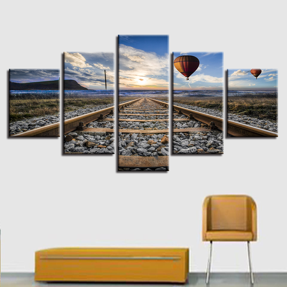 Home Decor Poster Modern Wall Art Pictures Frame 5 Panel Railway And Hot Air Balloon Landscape Living Room HD Printed Painting