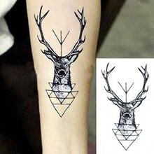 Elk Deer Head Tattoo Bucks Horn Antlers Waterproof Water Transfer Fake Tattoo Flash Tattoos 1pc