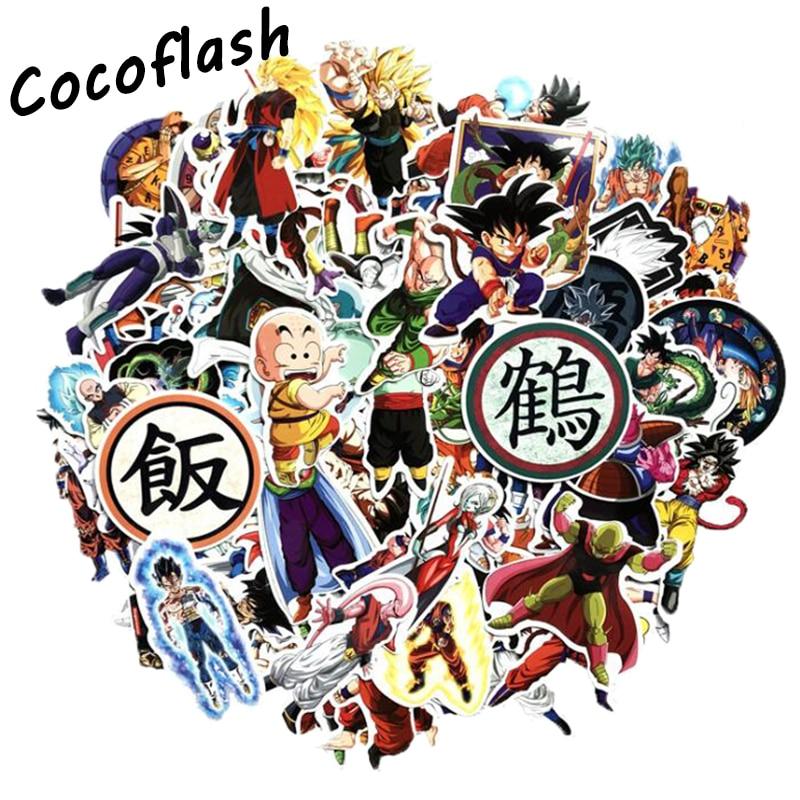 100Pcs Anime Dragon Ball Z Stickers Super Saiyan Goku Graffiti Bomb Decals Pack For Skateboard Luggage Laptop Notebook Guitar