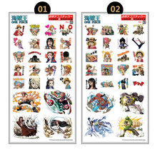 10pcs/lot stickers toy Anime One Piece Plastic Stickers Laptop Mobile Phone Book Transparent Sticker Toy