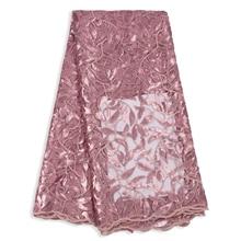 Latest Leaf Sequin French Tulle Lace Luxury laser Fabric Fashion Party Women Dress Wedding Net African Fabric Lace 5Yard Aso Ebi цена в Москве и Питере
