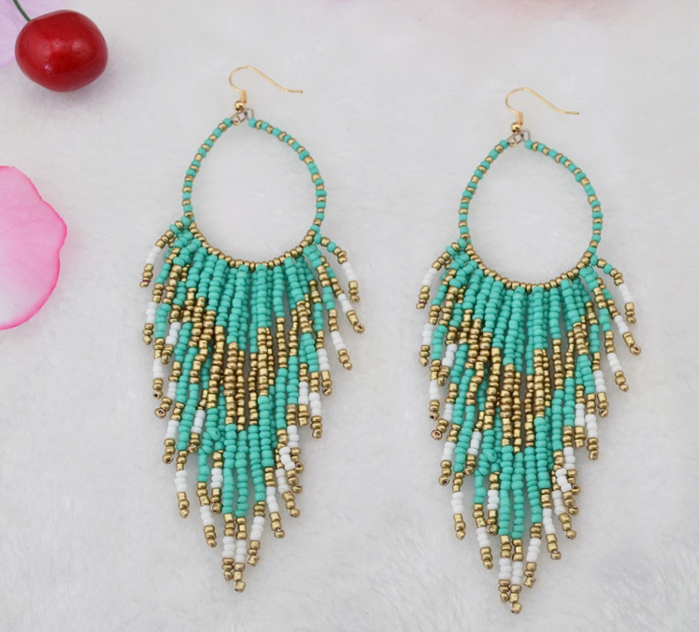of drop long watches earrings products dangle fashion copy blue comelyjewel jewelry beads gold bead collections