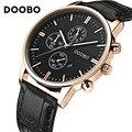 Nova doobo relógios de marca de luxo homens pulseira de couro relógio de moda relógio de quartzo-relógio casual masculino sports data relógio de pulso montre homme