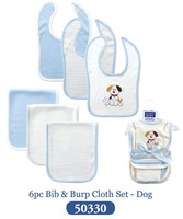 5 Designed Retail 6Pieces Lot Baby Bibs Carters Blue Color Cartoon Dog Embroidered Baby Bibs Bandana