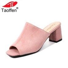 4d7ccb0f7 TAOFFEN Tamanho 32 44 Senhoras Sandálias de Salto Alto Peep Toe Sapatos de  Salto Grosso Sapatos Femininos de Verão Elegante Orna.