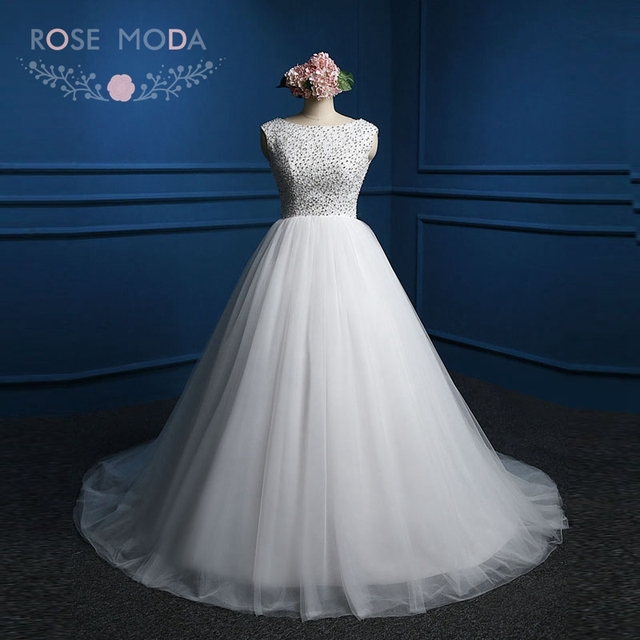 Rose Moda Crystal Ball Gown Lace Up Back Princess Winter Wedding ...