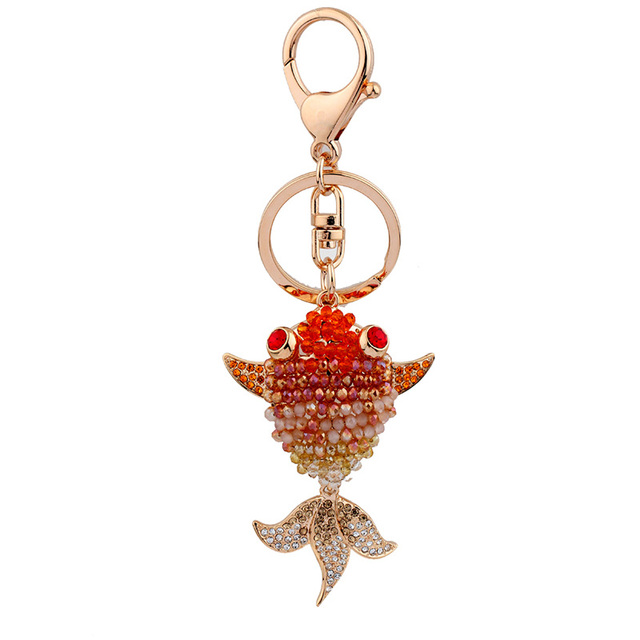 New CZ Crystal Goldfish key chain for christmas gift animal keychain car keychain jewelry cubre llaves keys for man and woman