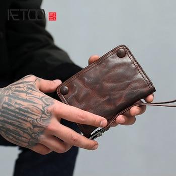 AETOO El Yapımı cüzdan erkek kısa deri vintage para klip genç koyun derisi Para Klip