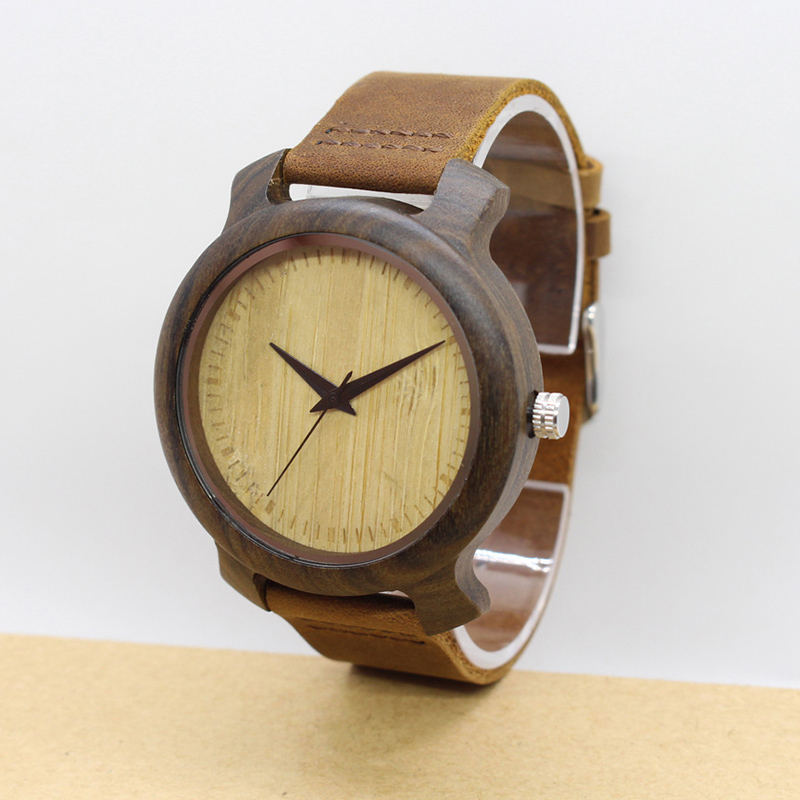 GUCAMEL Big Dial Bamboo Watch For Men Classic Leather Strap