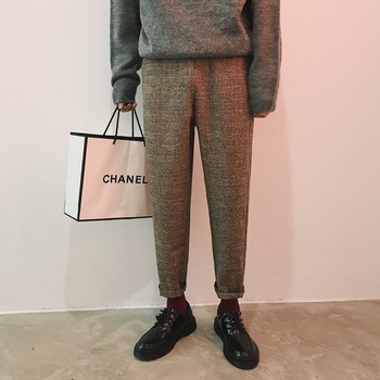2018 Men's Thicken Cotton Woolen Cloth Pants Lattice Printing In Warm Casual Haren Suit Pants High-quality Trousers Size M-2XL фото