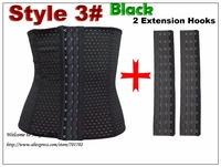 Extension Hooks Plus Size Waist Training Waist Shaper Black Underbust Corsets Steel Boned Waist Cincher Belt