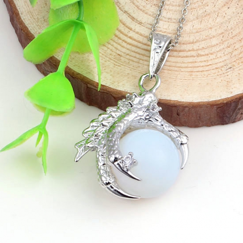 Silver Plated Dragon Claw Wrap Crystal Ball Necklace