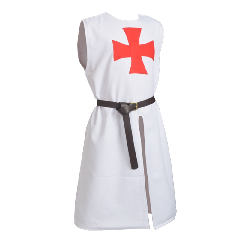 Medieval Costume Renaissance Hospitaller Knights Crusader Templar Cosplay White Tunic Cloak Cape