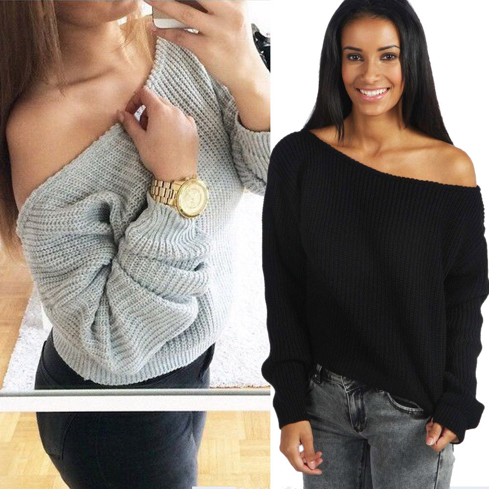 2017 Womens Long Sleeve Baggy Sweater Pullovers Sexy Off Shoulder ...