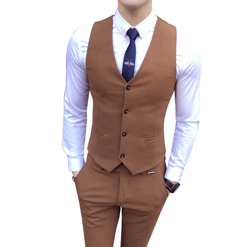 Anzüge Reine Farbe Männer Lange ärmeln Blazer Mit Anzug Westen Und Anzug Hose S-3xl Größe Elegante Form Herrenbekleidung & Zubehör
