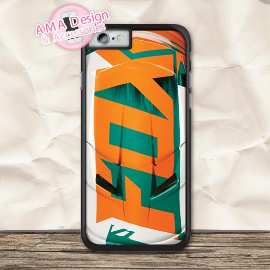 Orange Racing Helmet Phone Case For iPhone X 8 7 6 6s Plus 5 5s SE 5c 4 4s For iPod Touc ...