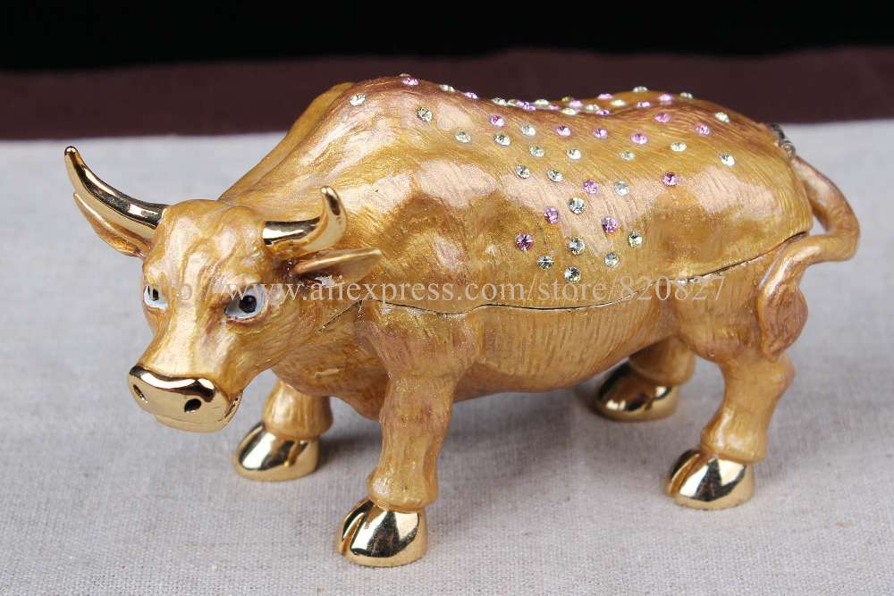 FengShui Full Crystal Design Wall Street Cow Statue Trinket Box Cow animal bejeweled trinket jewelry box figurine ring holder china brass copper fengshui guardian town house evil foo dog lion statue pair