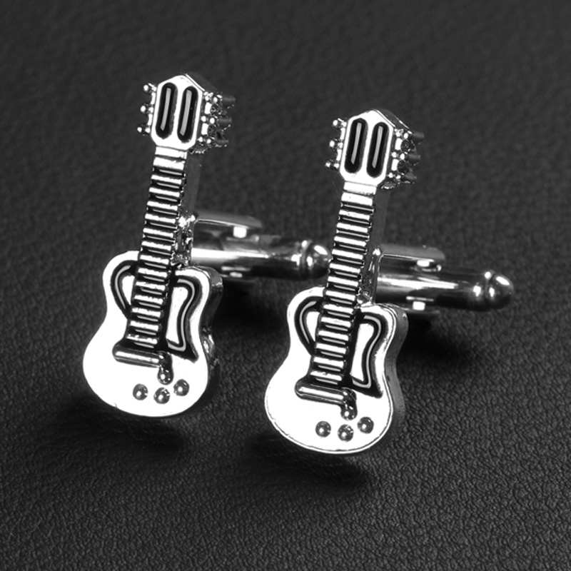 Trendy New Cuff Links Fashion Guitar Musical Bass Instrument Silver Cufflinks For Men French Shirt Cuff Buttons 1 Pair Xmas Gift