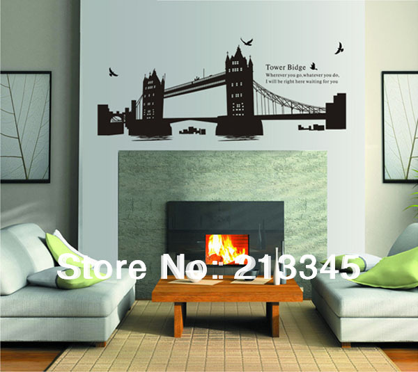 [Fundecor] London Gemini bridge leading design living room bedroom deco sticker mural wall stickers decals 6268