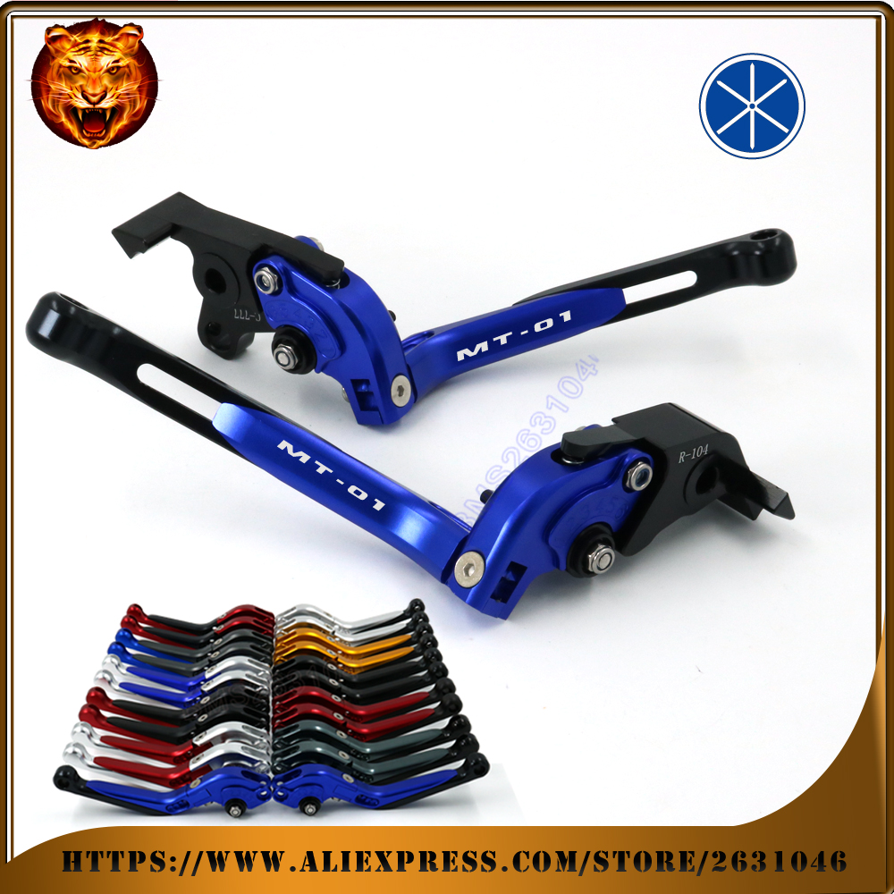 Motorcycle Adjustable Folding Extendable Brake Clutch Lever For YAMAHA MT01 MT-01 2004 05 06 07 08 09  FREE SHIPPING BLACK BLUE motorcycle adjustable billet short folding brake clutch levers for buell ulysses xb12x xb12xt 1200 05 06 07 08 09 xb12 2004 08