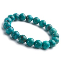 10mm Malachite Bracelet Natural Stone Chrysocolla Crystal Gems Stretch Round Beads Jewelry Charm Bracelet
