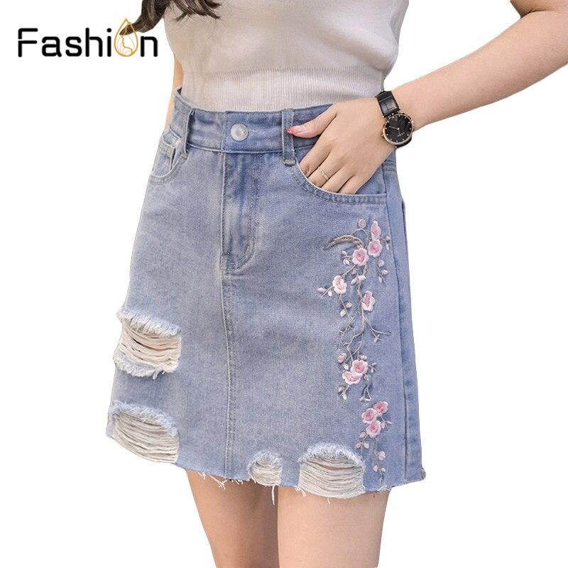df0ef8b1a4b Casual Fringe flower Embroidery Pencil Skirt Women Chic Slim High Waist Denim  Skirts 2018 Girl Summer Mini Skirt Bottom Harajuku-in Skirts from Women s  ...