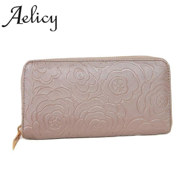 Aelicy Fashion Large Capacity Women Wallets Long PU Leather Wallet Female Zipper Leather Clutch Wallet Long Card Rose Embossed