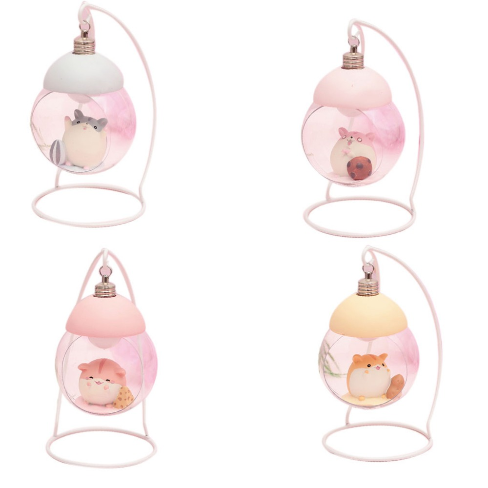 Lamp Hamster Night Light Resin Home Decoration Accessories Cartoon Mouse LED Animals Ornaments For Room Japanese Children Gift 2