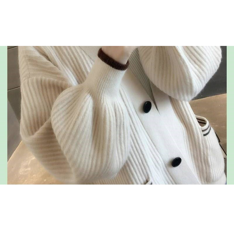 Sweater Cardigan Knitted Coat Autumn Winter New Lantern Sleeve Cardigan Sweater Korea Thick Contrast Color Sweaters Loose Tops in Cardigans from Women 39 s Clothing