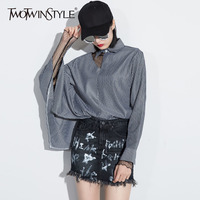 TWOTWINSTYLE Striped Shirt Female Hole Lapel Collar Cloak Sleeve Irregular Shirts For Women Spring Fashion Sexy