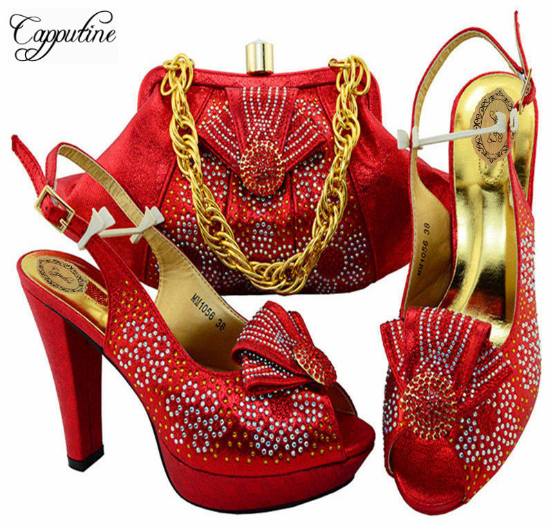 Capputine New Arrival Italian Red Shoes With Bag Set African High Heels Shoes And Bags Free Shipping Size 38-43 MM10561 2016 spring and summer free shipping red new fashion design shoes african women print rt 3