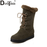 DoraTasia 2017 Large Sizes 34 43 Shoelace Decoration Women Shoes Woman Thick Bottom Comfortable Warm Platform