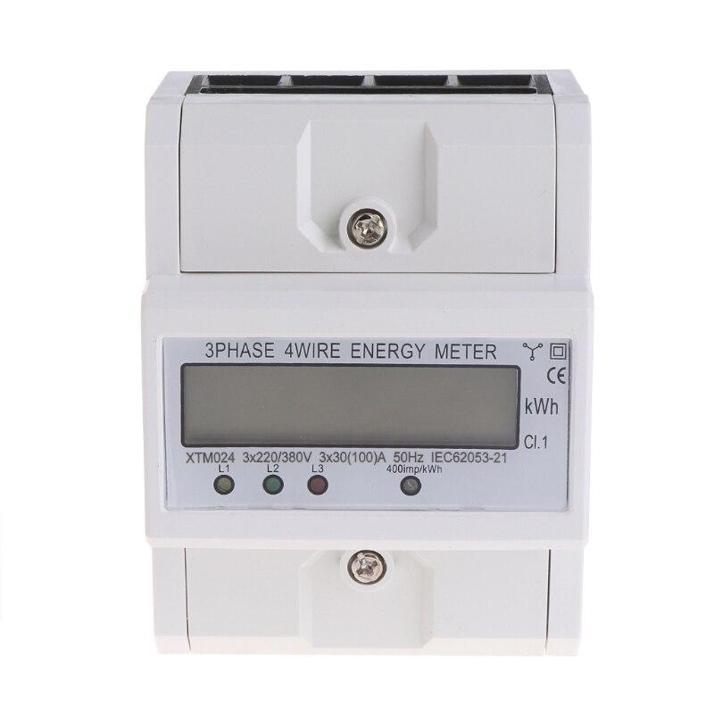 Compteur d'énergie triphasé à quatre fils DIN-Rail Kilowatt heure KWH 50-60Hz 3x5 (80A) #0616