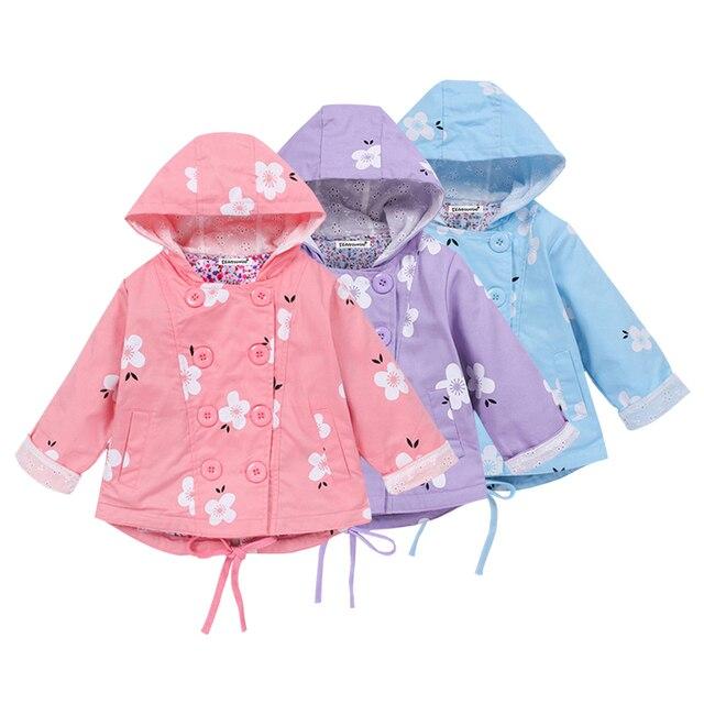2018 Новый Демисезонный куртка для маленьких девочек для Обувь для девочек ветровка пальто Дети Толстовки верхняя одежда детская одежда для девочек для От 2 до 7 лет