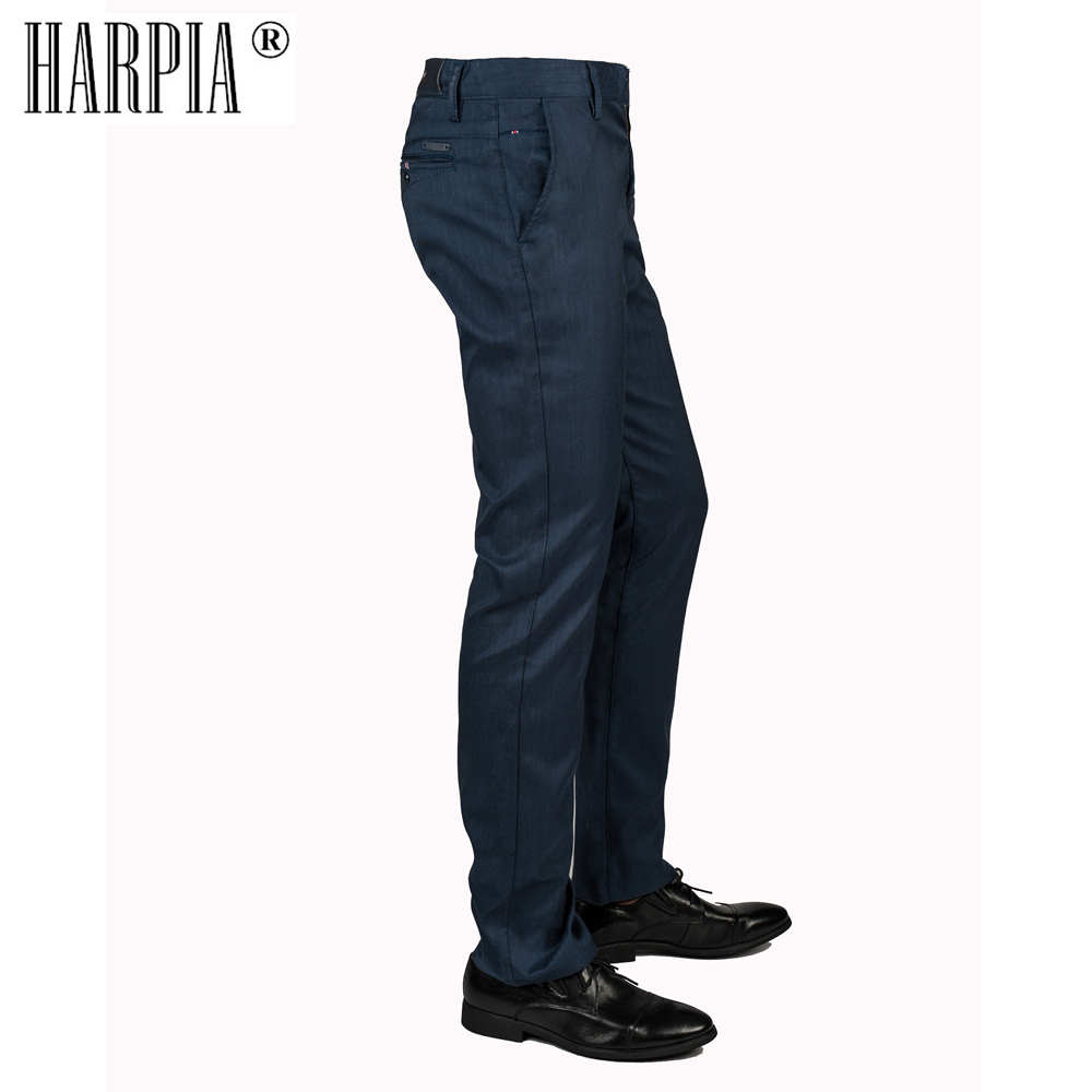 HARPIA Dark Blue Classic Casual Mens Trousers Male Straight Stretch Cotton Slim Pants Mens Summer Autumn Business Suit Pants